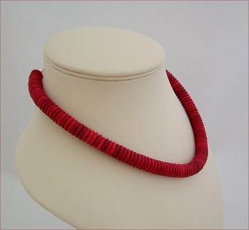 Red Howlite rondelles Necklace