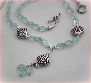 Aquamarine and Silver Shells Necklace