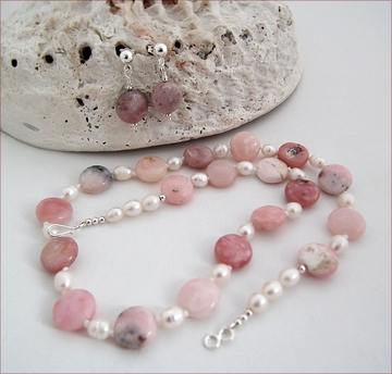Pink Opal and Pearl Necklace & Earrings