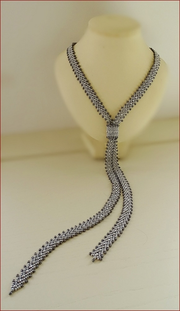 Silver Lariat Beadwork Necklace