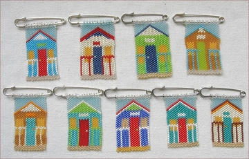 Beach Hut brooches