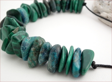 chrysocolla on leather necklace