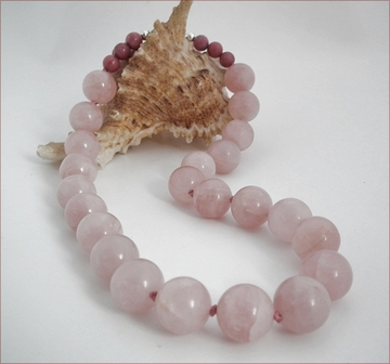 Big Rose Quartz Bead Necklace