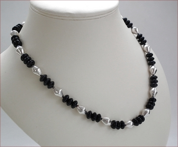 black agate and Indian Silver Wax bead necklace