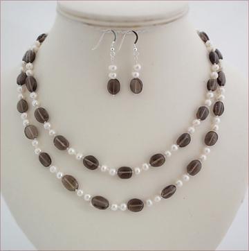 smoky quartz and pearls