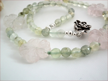 Rose quartz and prehnite