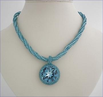 Aqua swarovski pendant