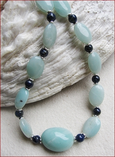 """Oxbridge"" Amazonite and Lapis Lazuli Necklace and Earrings (LS19)"