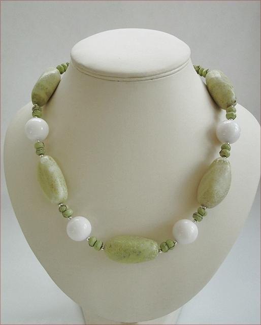 Lemon Jasper and White Jade Necklace (BH36)