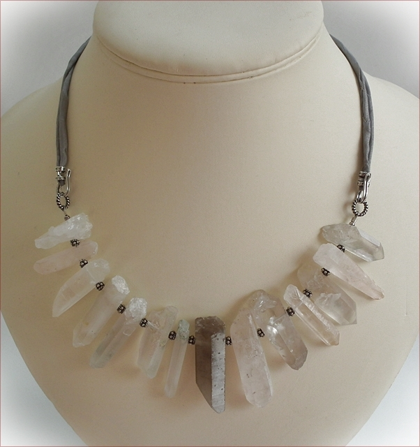 Chunky Rock Crystal Quartz with Silk Necklace (WB01)
