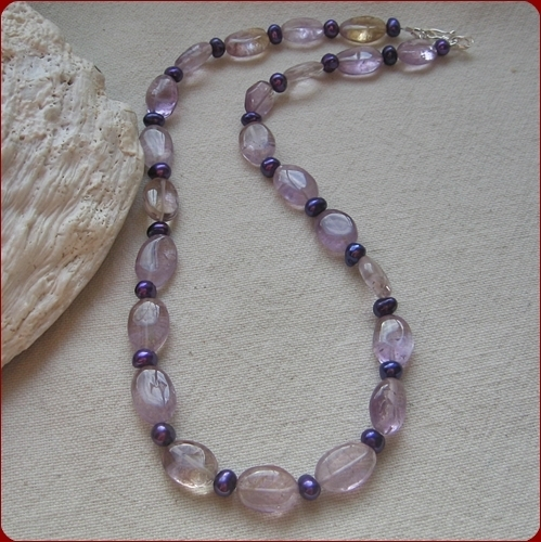 """Violet Posy"" Ametrine and Purple Pearl Necklace (LF07)"