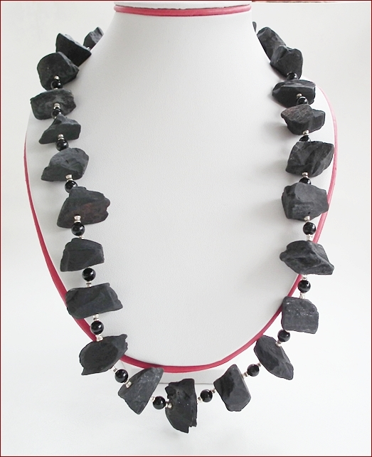 Raw Black Onyx Necklace (WB18)