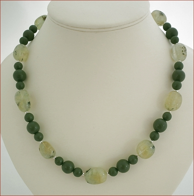 Prehnite and Green Jasper Necklace (D42)