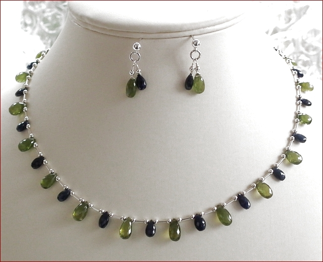 Sapphire and Vesuvianite Necklace and Earrings Set (SM82)