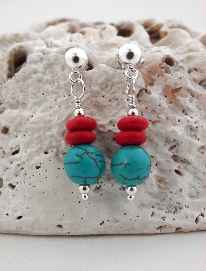 Turquoise and Red Howlite Earrings (DDE14)