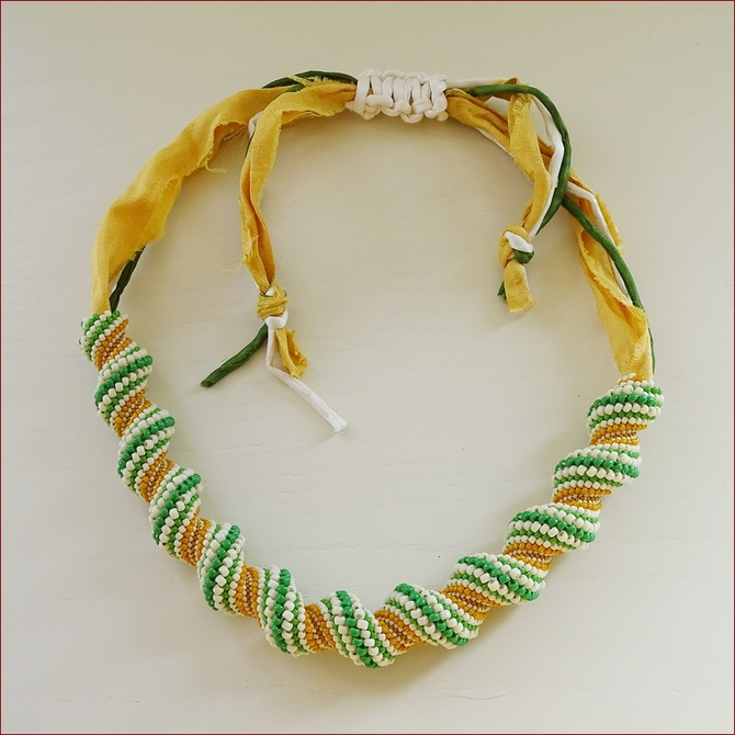 Cellini Spiral Necklace with silk (BW134)