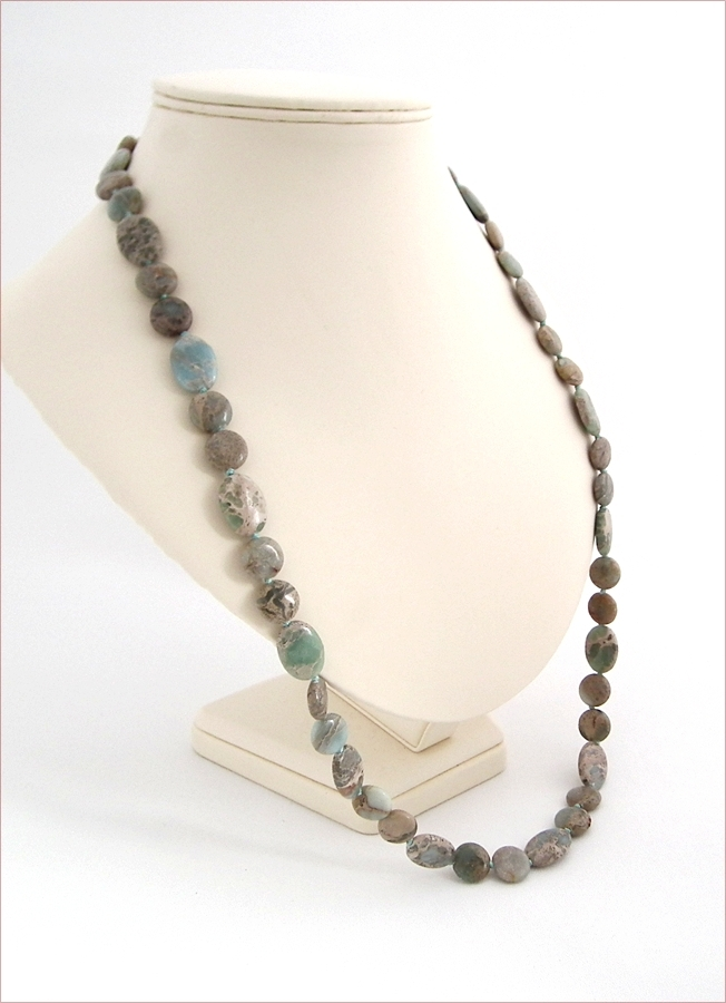 Long Impression Jasper Necklace (D54)