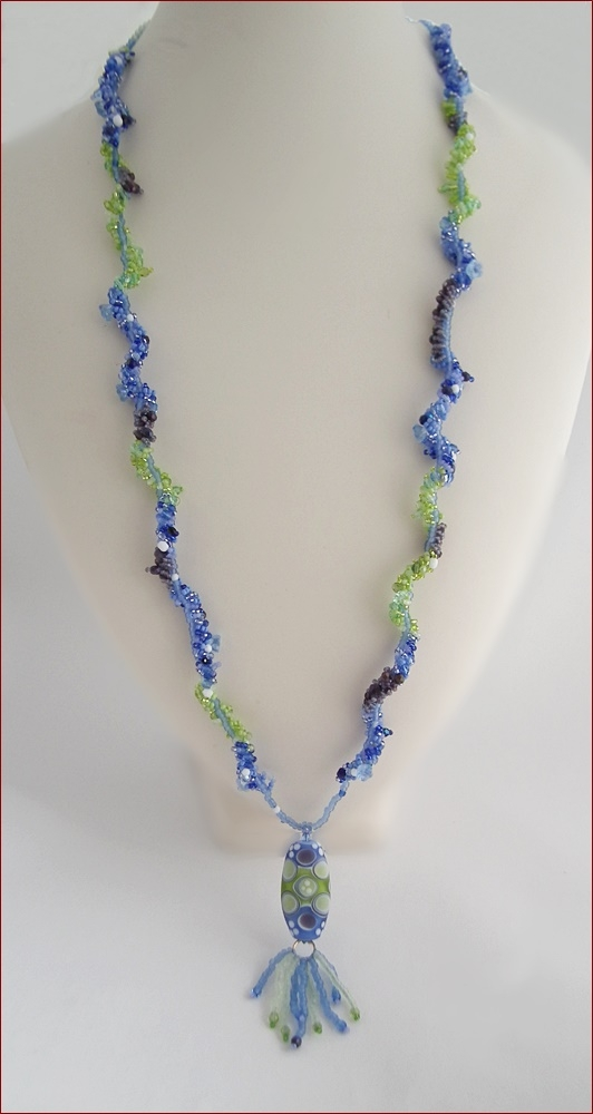Seaside Sparkle Long Beadwork Necklace (BW130)