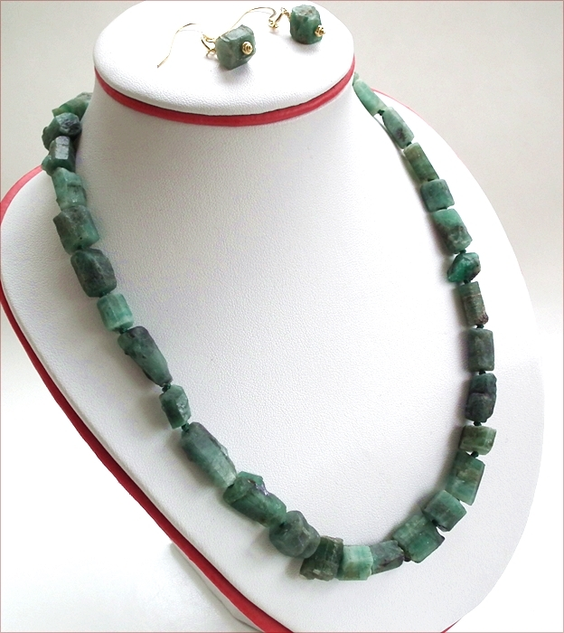 Raw Emerald Necklace and Earrings (WB19)