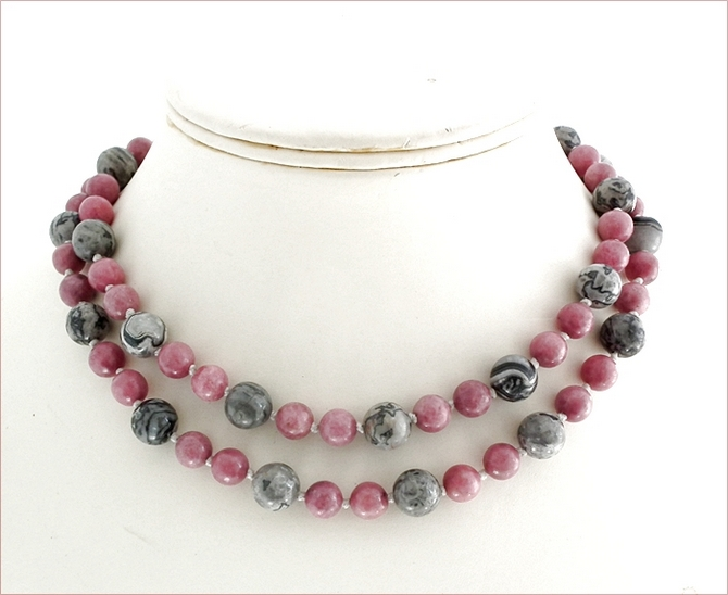 Grey and Pink Long Knotted Necklace (BH91)