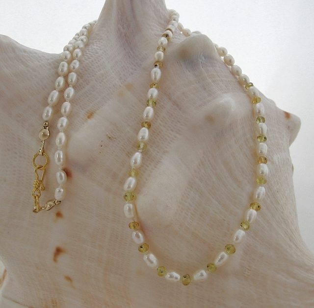 Yellow Sapphire and Pearls Knotted Silk Necklace (SM69)