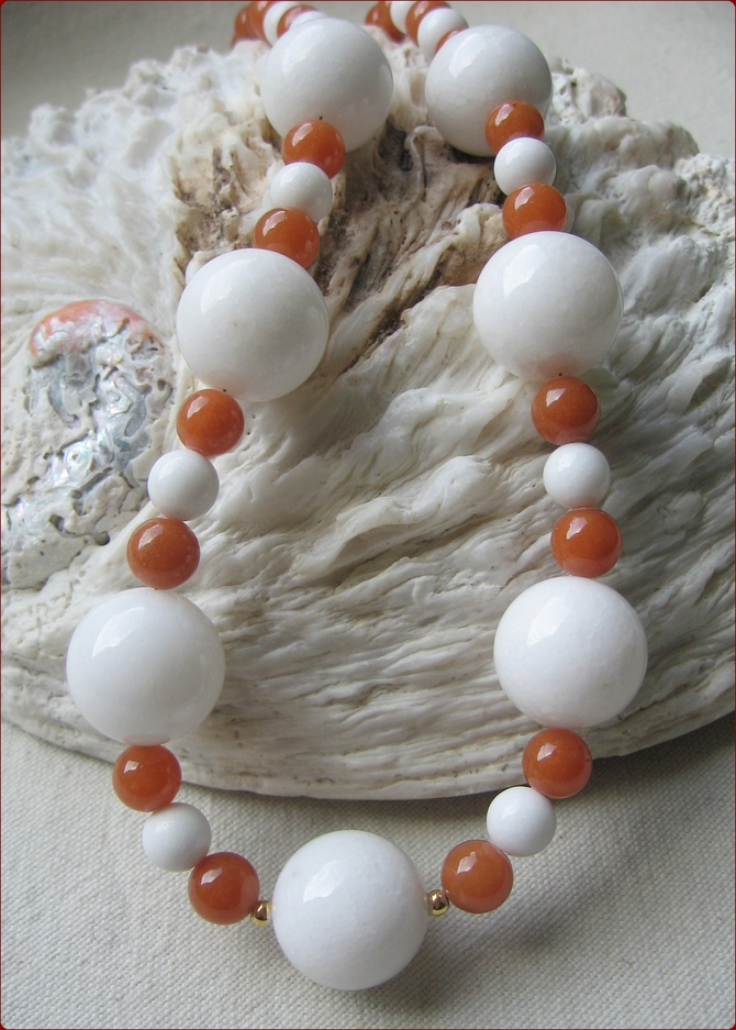 White Jade and Aventurine Necklace (BH07)