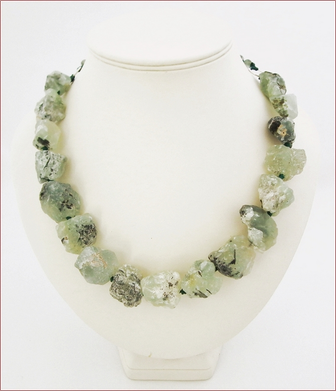 Raw Prehnite Rocks Necklace (WB30)