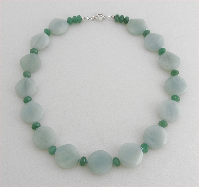 Amazonite and Green Aventurine Knotted Necklace (CG14)