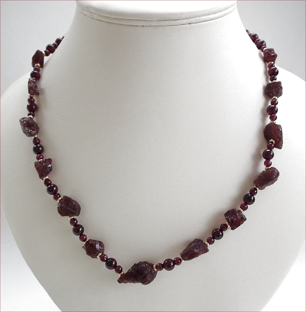 Rough and Smooth Garnets with Vermeil Necklace (SM85)