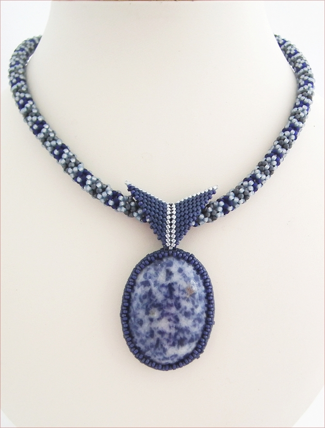 Sodalite Pendant Beadwork Necklace (BW109)