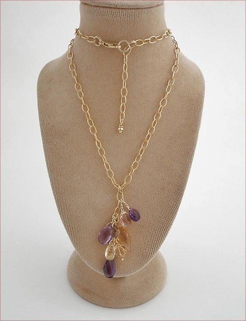 Mixed Gemstones Cluster Necklace (SM103)