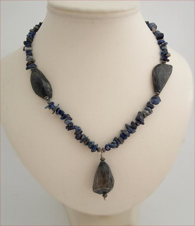 Lapis Lazuli Rock Necklace (SS45)