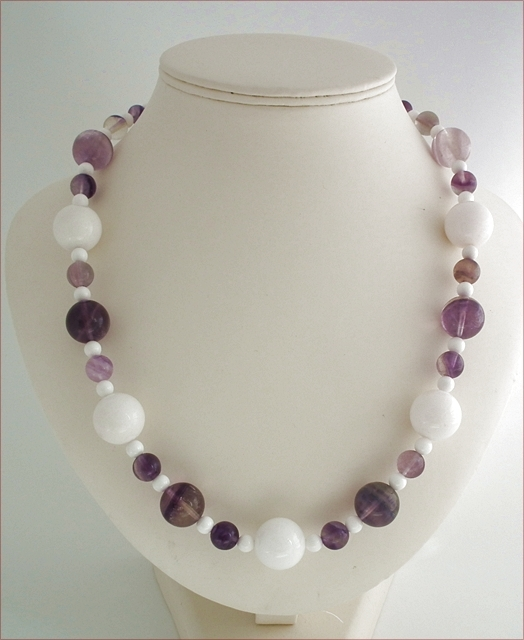Chunky Fluorite and White Agate Necklace (CG40)