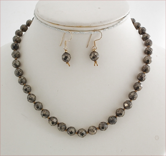 Facetted Pyrite Knotted Necklace and Earrings Set (SM113)