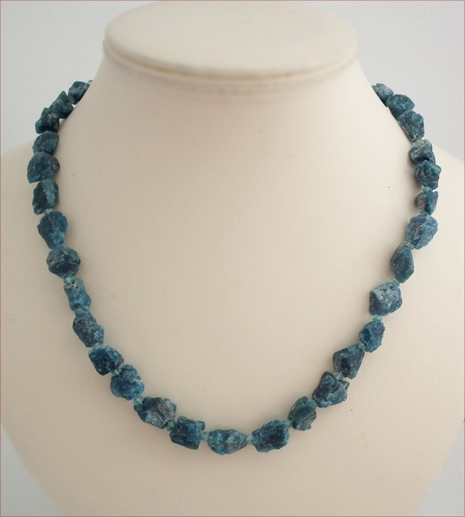 Raw Electric Blue Apatite Necklace (WB17)