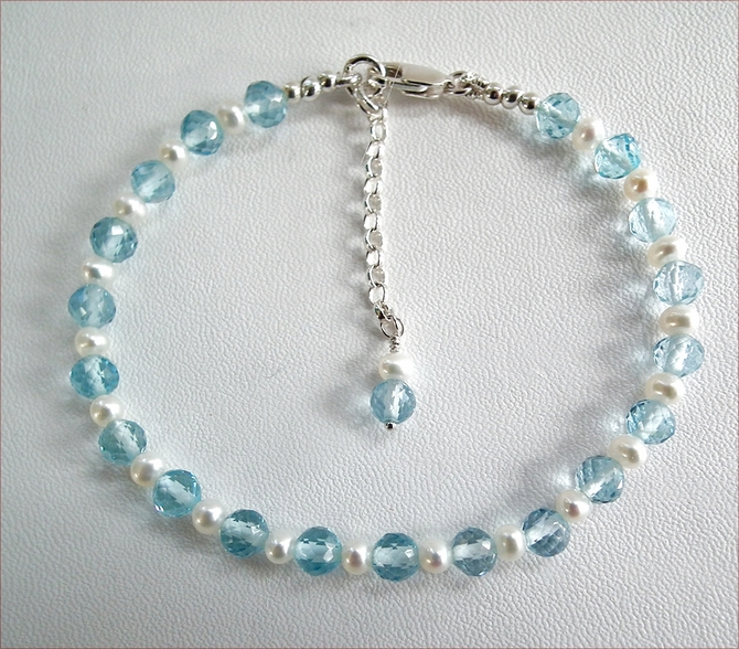 Blue Topaz and Pearl Precious Friendship Bracelet (SM128)