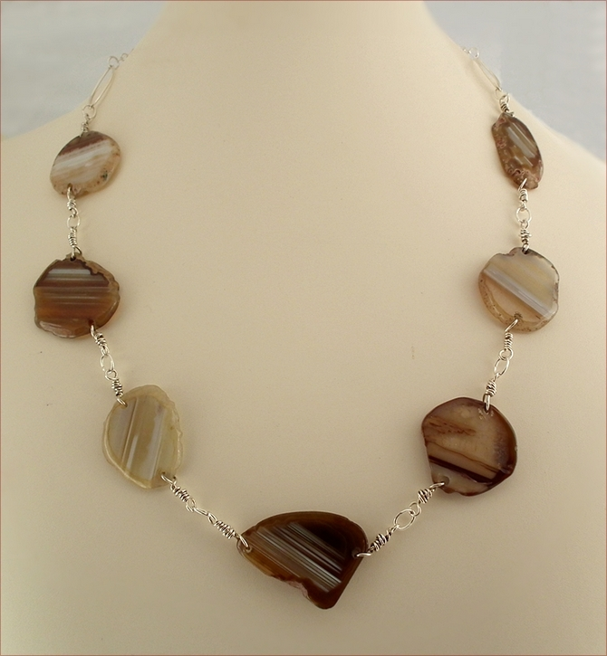 Agate Slices with Silver Necklace (LS69)