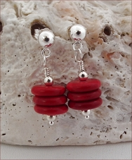 Red Howlite Rondelle Earrings