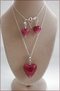 Raspberry Red Murano Hearts Pendant and Earrings Set (SM112)