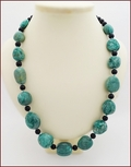 Chrysocolla Pebbles with Matt Black Onyx Knotted Necklace (LS115)