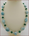 Amazonite with Green Aventurine Knotted Necklace (LS116)