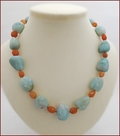 Raw Amazonite with Druzy Agate Knotted Necklace (LS118)