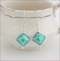 Teal Czech Lampwork Earrings (SM015)