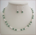 Freshwater Pearls and Green Aventurine Necklace and Earrings Set (SM105)