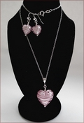 Murano Pink Swirl Heart Pendant and Earrings Set (SM115)