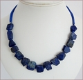 Raw Lapis Lazuli and Silk Necklace (WB20)
