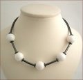 Hematite and White Jade Necklace (SM62)