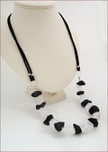 Raw Rock Crystal and Onyx Necklace on Silk (WB27)