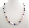 Multicoloured Knotted Baroque Pearl Necklace (CG60)