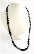 Long Onyx and Hematite Necklace (SM129)